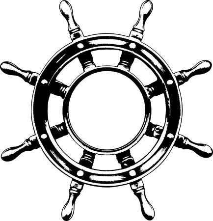 roer: Schip stuur wiel  Stock Illustratie