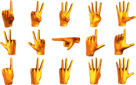 Counting orange hand isolated on white background Vector