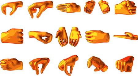 holding orange hand isolated on white background Vector