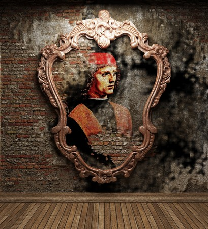 antique portrait fresco made in 3D  photo
