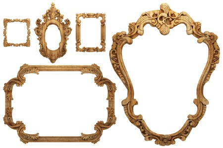 antique frame: wooden antique frame made 3 D graphics