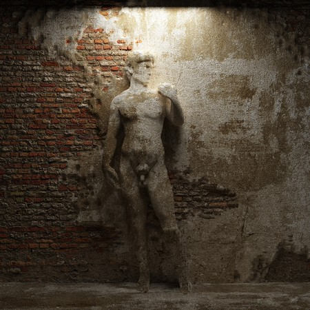 cracked cement: antique sculpture David made in 3D  Stock Photo