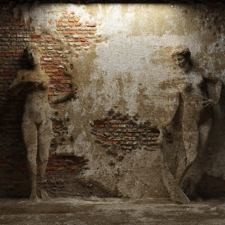 antique women sculptures made in 3D  photo