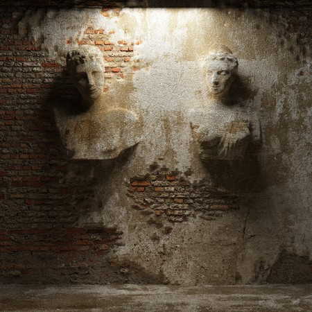 damaged cement: antique sculptures made in 3D  Stock Photo