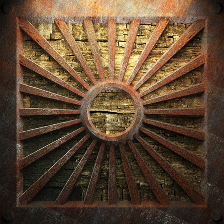 rusty metal and wood plate made in 3D Stock Photo - 7758150