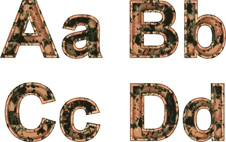 arial: Arial Black Alphabet stylized to rusty painted metal