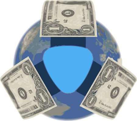 охватывающей: Dollar, covering the Earth Иллюстрация
