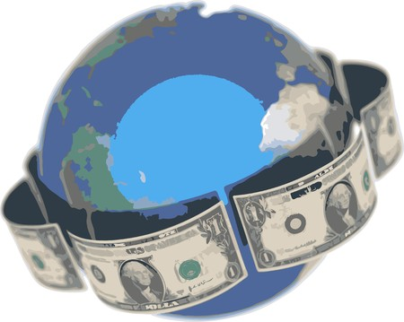isolatedrn: Dollar, covering the Earth Illustration