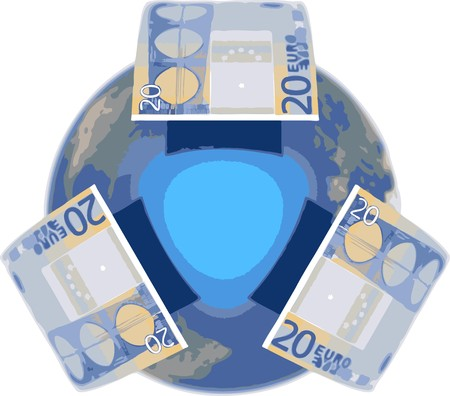 Euro, covering the Earth Stock Vector - 7758052