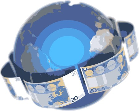 isolatedrn: Euro, covering the Earth Illustration