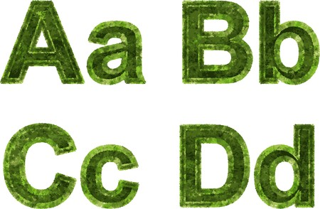 harmful to the environment: Arial Black Alphabet stylized to grass