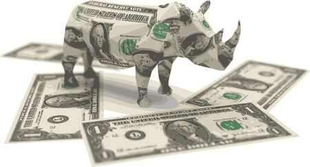 one dollar bill: dollar origami rhino