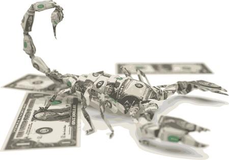 dollar bills: dollar origami scorpion