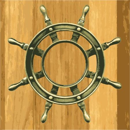 ship storm: bronze wheel on a wooden board