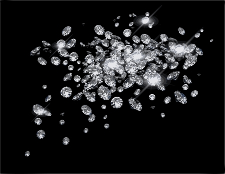 Diamonds on black surface Vector