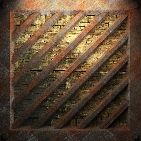 rusty metal and wood plate made in 3D Stock Photo - 7758219