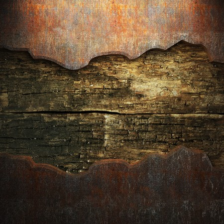 rusty metal and wood plate made in 3D photo