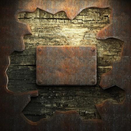 malla metalica: placa de metal y madera mohosa realizado en 3D