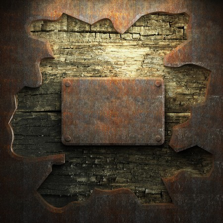 rusty metal and wood plate made in 3D Stock Photo - 7758212