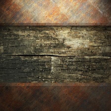 rusty metal and wood plate made in 3D Stock Photo - 7758226
