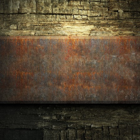 rusty metal and wood plate made in 3D Stock Photo - 7758220