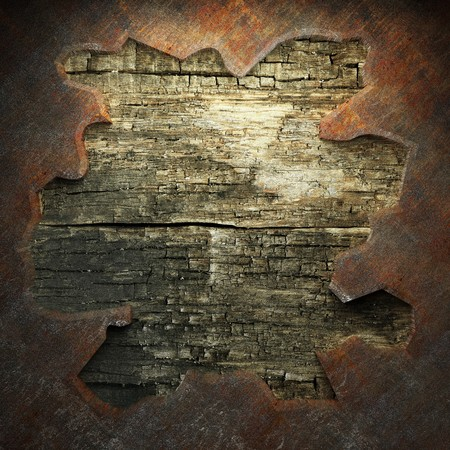 rusty metal and wood plate made in 3D Stock Photo - 7758223