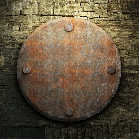 rusty metal and wood plate made in 3D Stock Photo - 7758222
