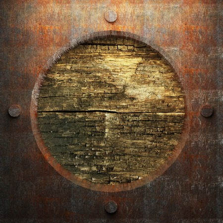 rusty metal and wood plate made in 3D Stock Photo - 7758227