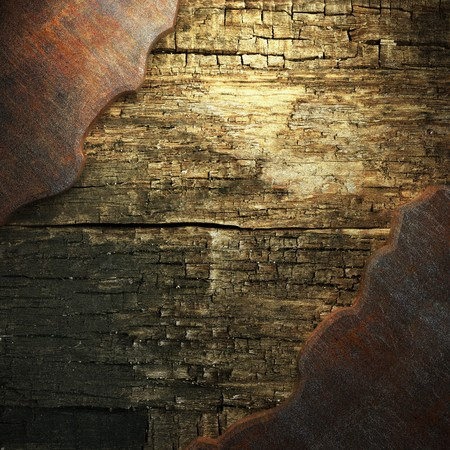 corrugated iron: rusty metal and wood plate made in 3D Stock Photo