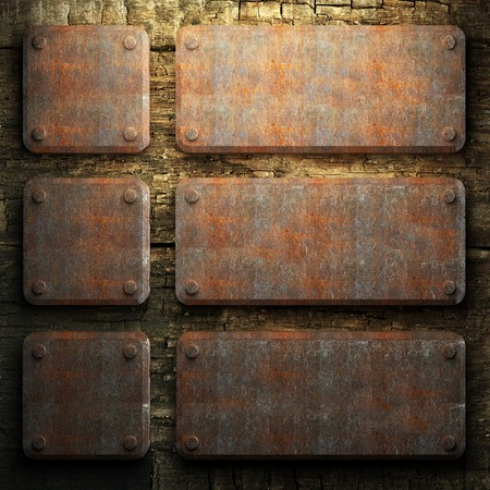 rusty metal and wood plate made in 3D Stock Photo - 7758214