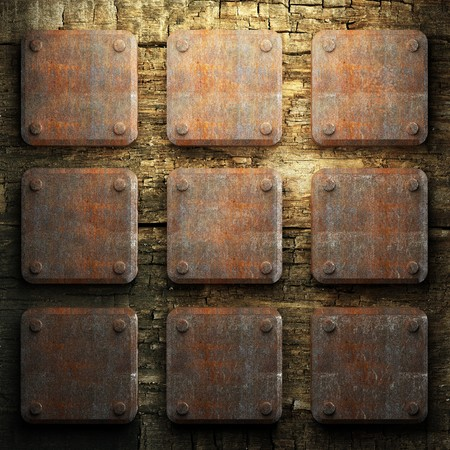 rusty metal and wood plate made in 3D Stock Photo - 7758217