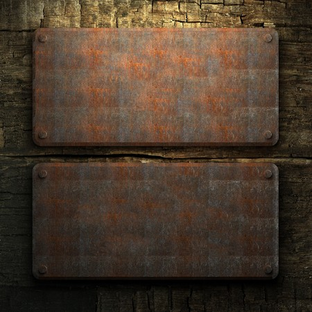 rusty metal and wood plate made in 3D Stock Photo - 7758210