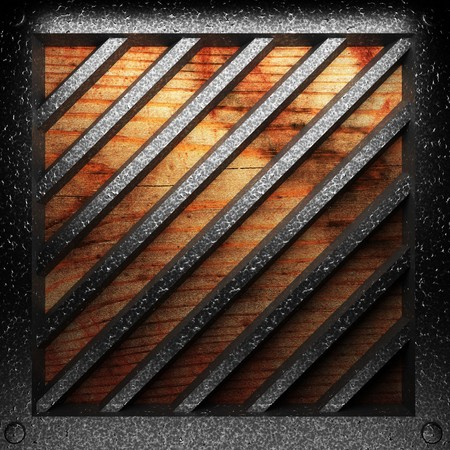 wood texture background: iron plate on wood made in 3D