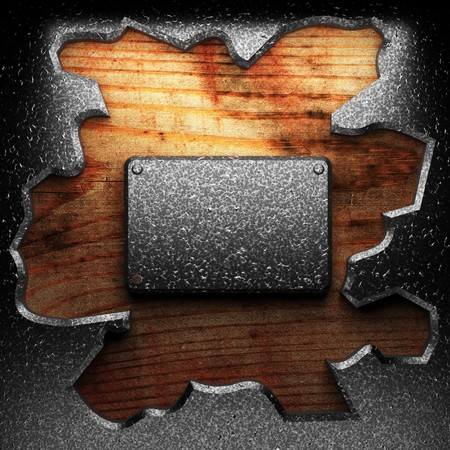 iron plate on wood made in 3D photo