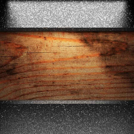 iron plate on wood made in 3D Stock Photo - 7758209