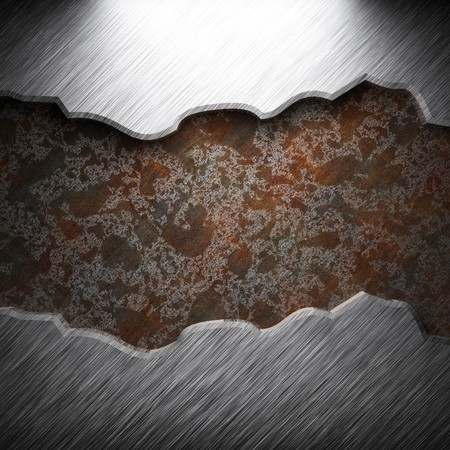 aluminum and rusty metal plate made in 3D photo