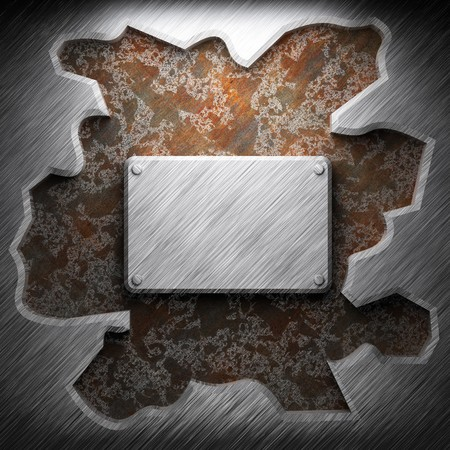 aluminum and rusty metal plate made in 3D Stock Photo - 7758255