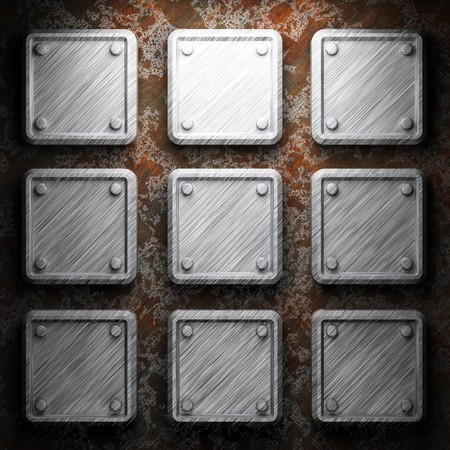 aluminum and rusty metal plate made in 3D Stock Photo - 7758252