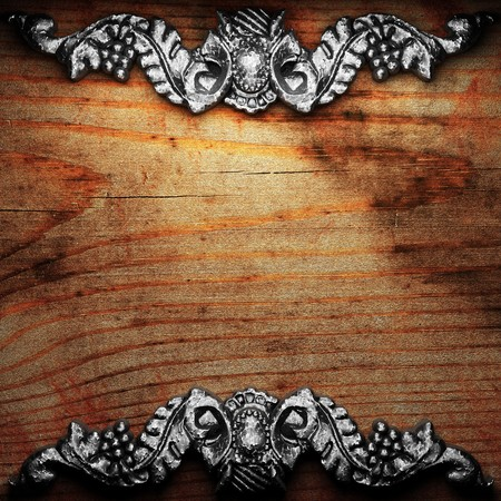iron ornament on wood made in 3D Stock Photo - 7758261