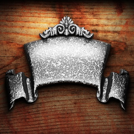 iron ornament on wood made in 3D Stock Photo - 7774671