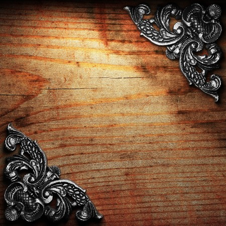 iron ornament on wood made in 3D Stock Photo - 7774918