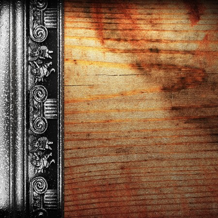 iron ornament on wood made in 3D Stock Photo - 7774916