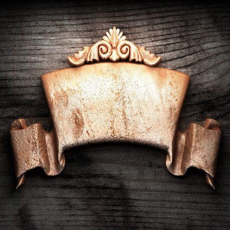 golden ornament on wood made in 3D Stock Photo - 7774672