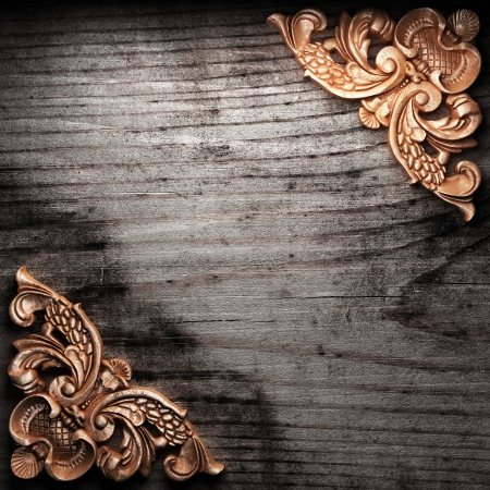 golden ornament on wood made in 3D Stock Photo - 7774907