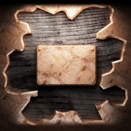 golden plate on wood made in 3D Stock Photo - 7905009