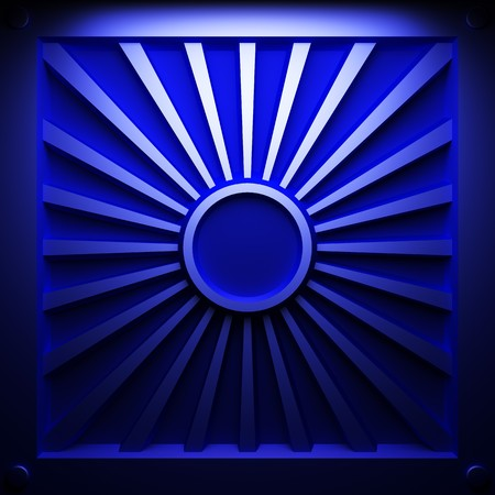 blue abstract plate made in 3D graphics photo