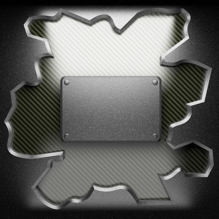 steel plate on carbon made in 3D photo