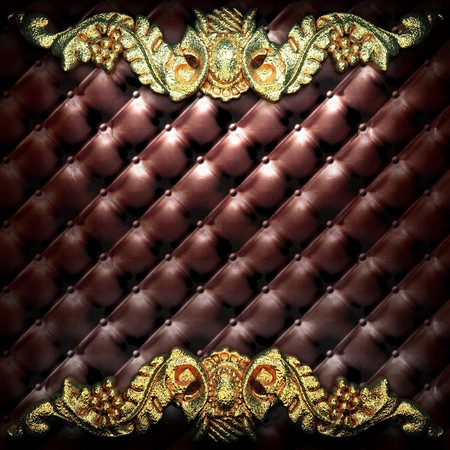golden ornament on leather made in 3D Stock Photo - 7905289