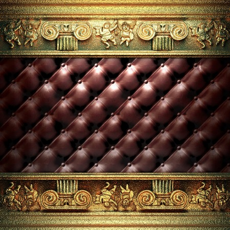 golden ornament on leather made in 3D Stock Photo - 7905295