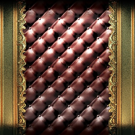 golden ornament on leather made in 3D photo